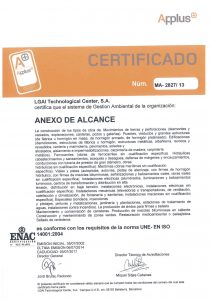 Anexos a la certificación en la norma ISO 14001 para OCA