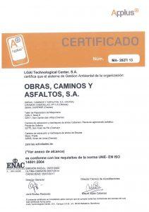 Certificación ISO 14001 de la gestión ambiental de OCA