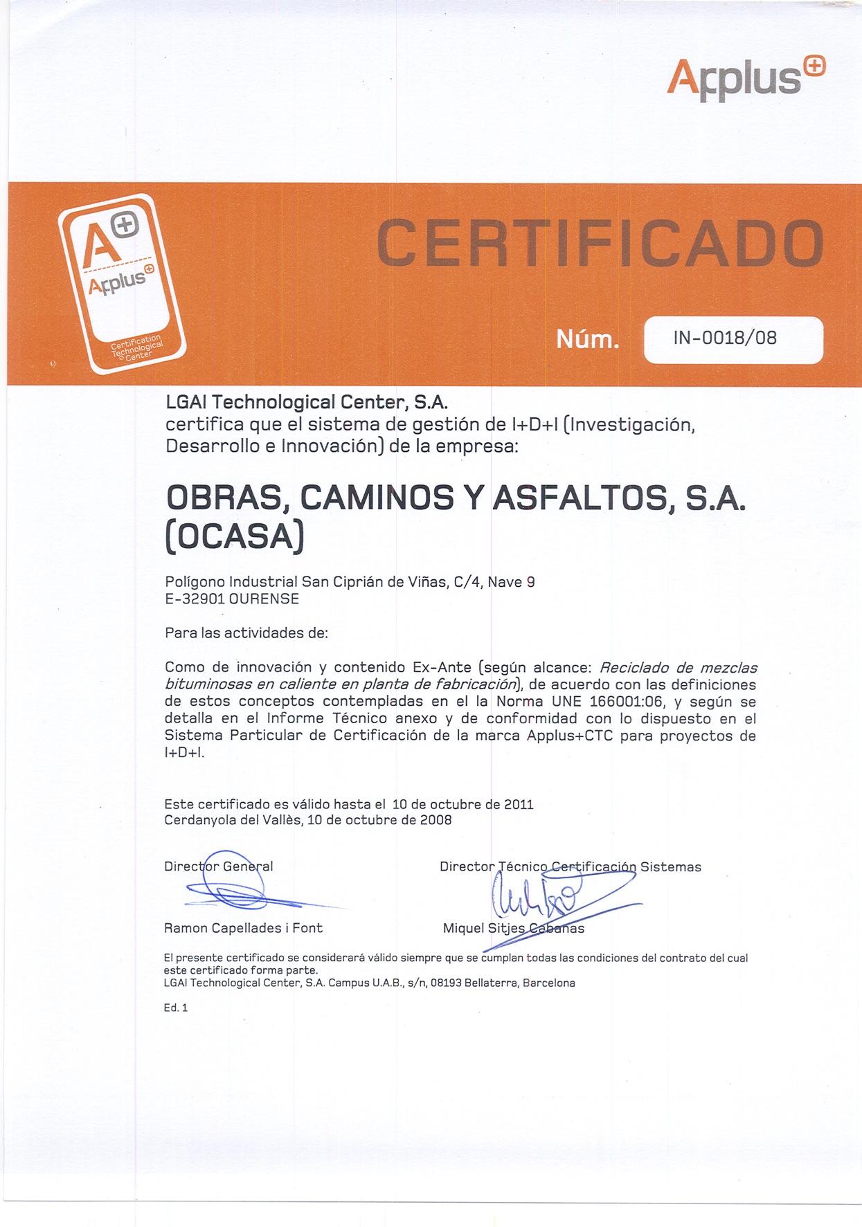 Certificación en Investigación en Reciclado de MEzclas Bituminosas